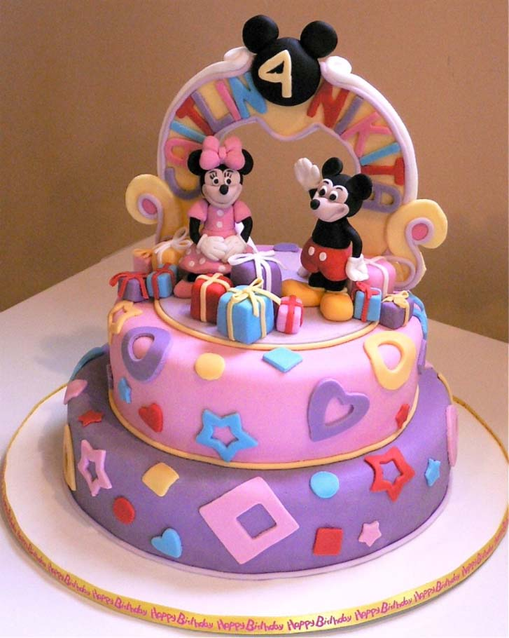 Peachy Mickey Mouse Birthday Cake Design Personalised Birthday Cards Bromeletsinfo