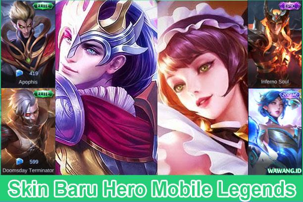daftar hero mobile legends dengan skin baru
