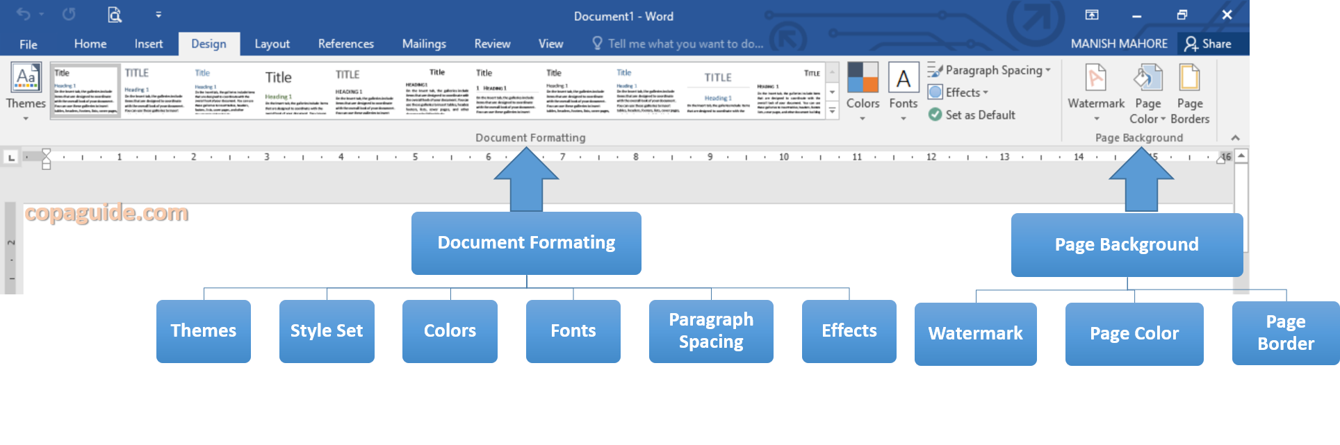 MS Word Design Tab Commands
