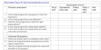 A template with evaluation questions about both the programme process and its outcomes