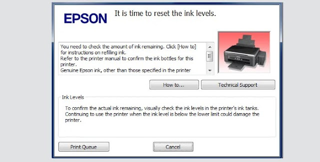 It is time to reset the ink levels Printer Epson