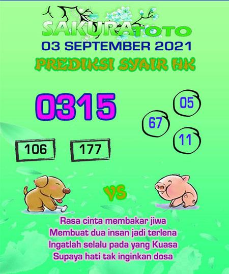 Syair HK Jumat 03 September 2021 -