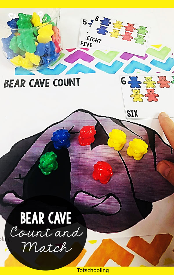 FREE printable counting and colors activity for toddlers and preschool kids to use with rainbow counting bears! This is a great hands-on activity to practice math skills and color recognition. Perfect for a hibernation or Winter theme as well.