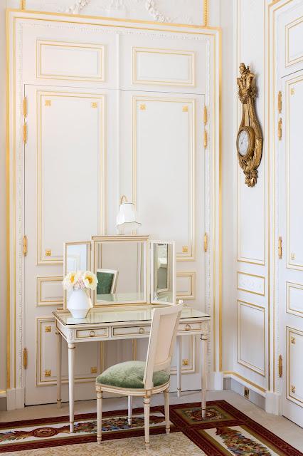 Breathtaking feminine romantic desk area in renovated Ritz Paris suite