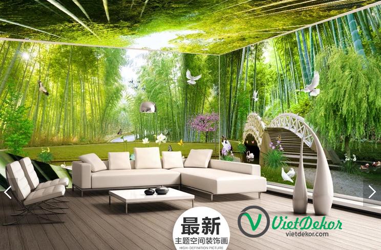 Tranh 3d phong cảnh rừng trúc phòng khách đẹp