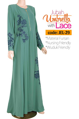 Jubah Umbrella Lace JEL-29 Sea Green Depan 1
