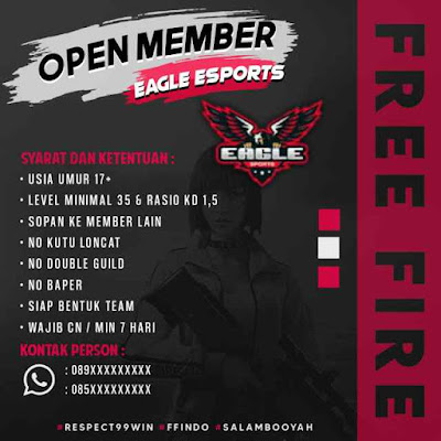 Contoh Poster Open Member Guild Free Fire