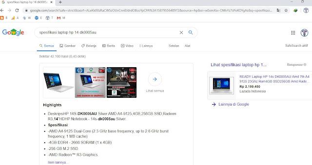 7. Cari Spesifikasi di Google