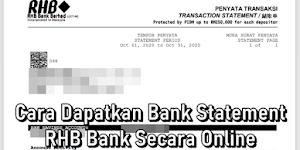 Cara Dapatkan Bank Statement RHB Bank Secara Online