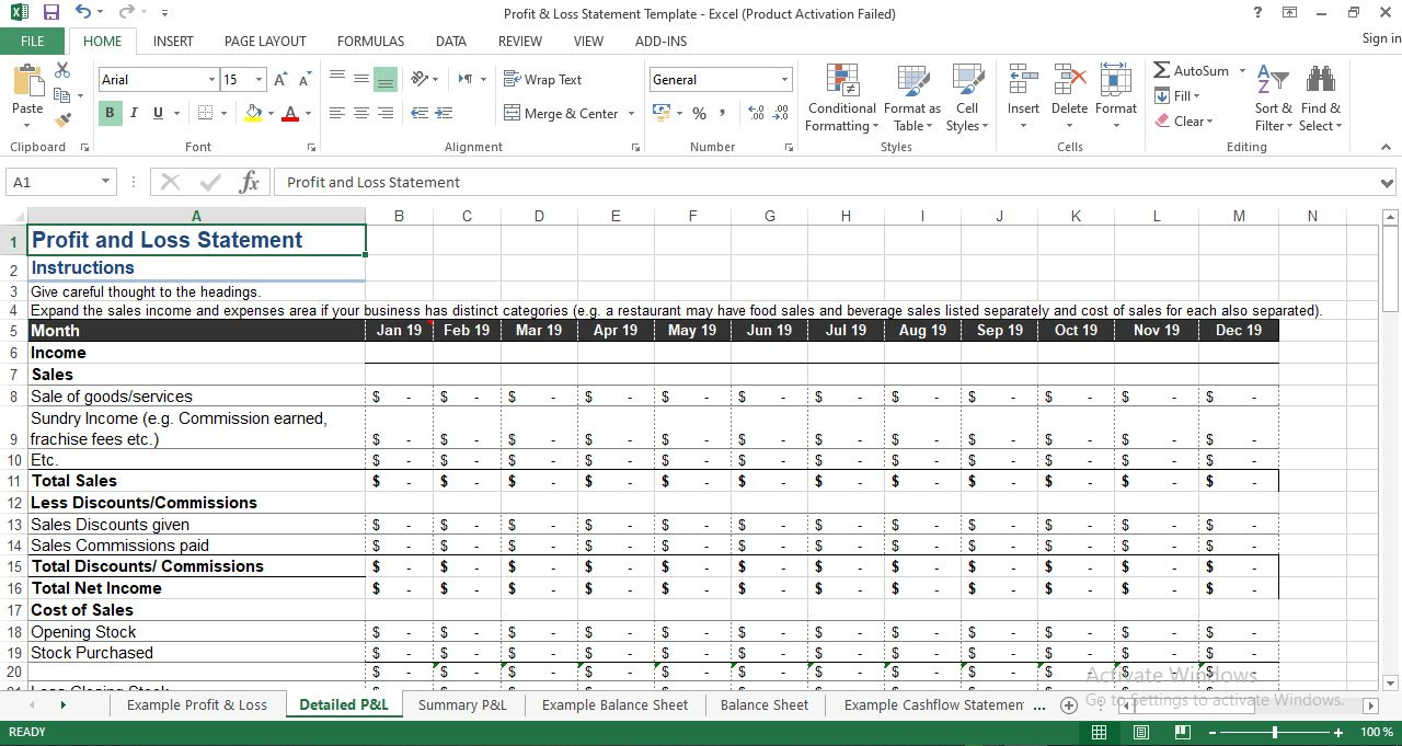 Profit and Loss Statement Template in Excel
