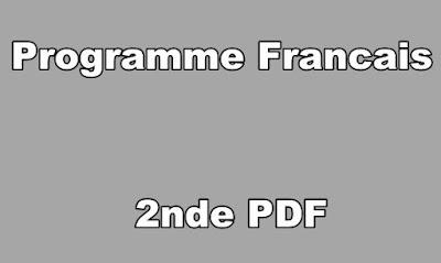 Programme Francais Seconde PDF