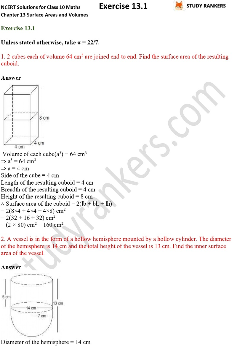 NCERT Solutions for Class 10 Maths Chapter 13 Surface Areas and Volumes Exercise 13.1 Part 1