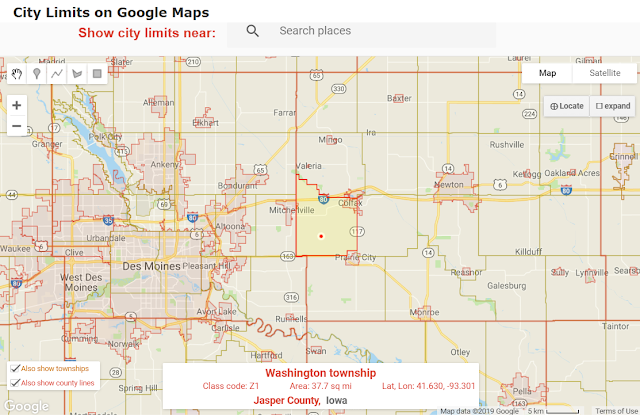 city limits and township boundaries on Google Maps example