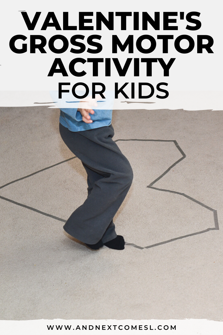 Valentine's Day gross motor balance activity for toddlers and preschoolers