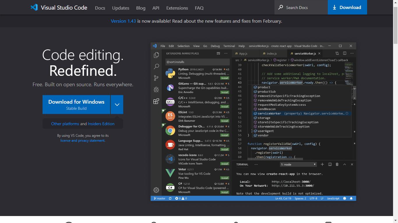 visual studio code, text editor terbaik