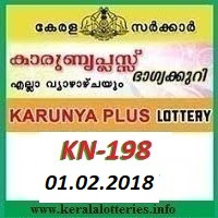 KARUNYA PLUS (KN-198) LOTTERY RESULT 01 JANUARY, 2018