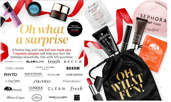 Bag From Sephora Includes 1 Full Size Mask And 7 Samples It Is Free With Any Online Purchase Of 25 Usd Or More While Supplies Last