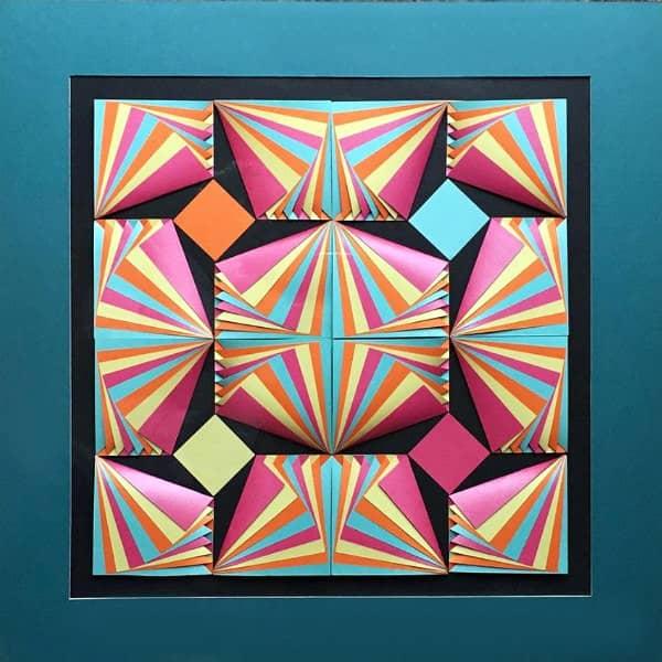 colorful op art-style 3D paper sculpture