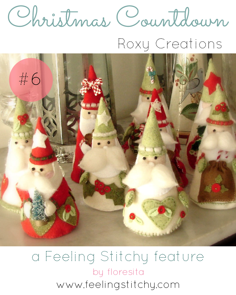 Christmas Countdown 6 - Roxy Creations Felt Gnome Santa patterns, featured on Feeling Stitchy by floresita