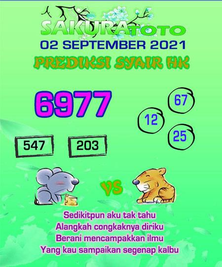 Syair HK Kamis 02 September 2021 -
