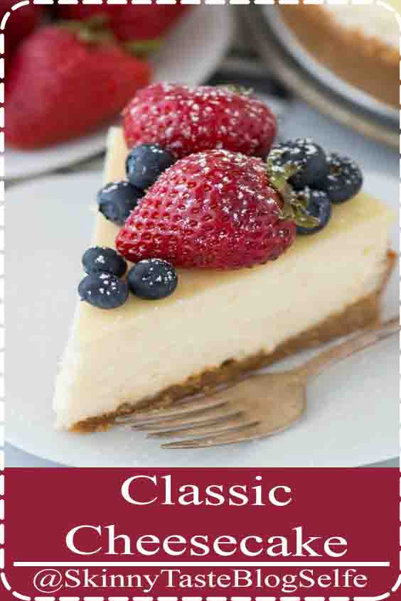 4.7 | ★★★★★ A classic plain cheesecake recipe with a graham cracker crust. Impress guests every time you make this Philadelphia style cheesecake. #plaincheesecake #classiccheesecake #philadelphiacheesecake
