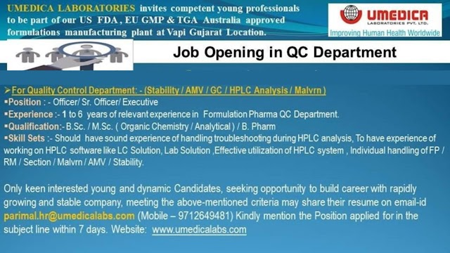 Umedica laboratories Ltd walk in interview for multiple Position apply now