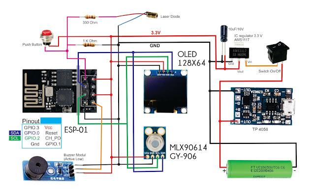 ESP8266 MLX90614 Contactless IR Thermometer