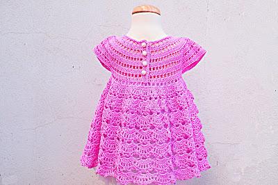 4 - Crochet IMAGEN Vestido rosa de abanicos a ganchillo Majovel Crochet