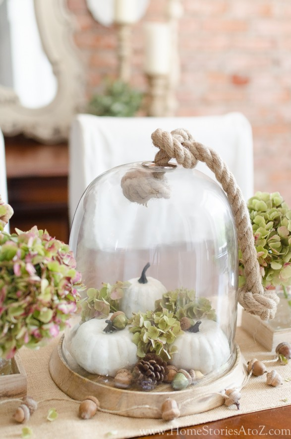 glass cloche with pumpkins and fall decor