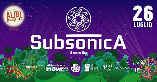 Il 26 luglio 2019 a San Severo i Subsonica all'Alibi Summer Fest '19