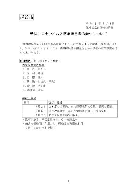 新型コロナウイルス感染症患者の発生について(7月8日発表)