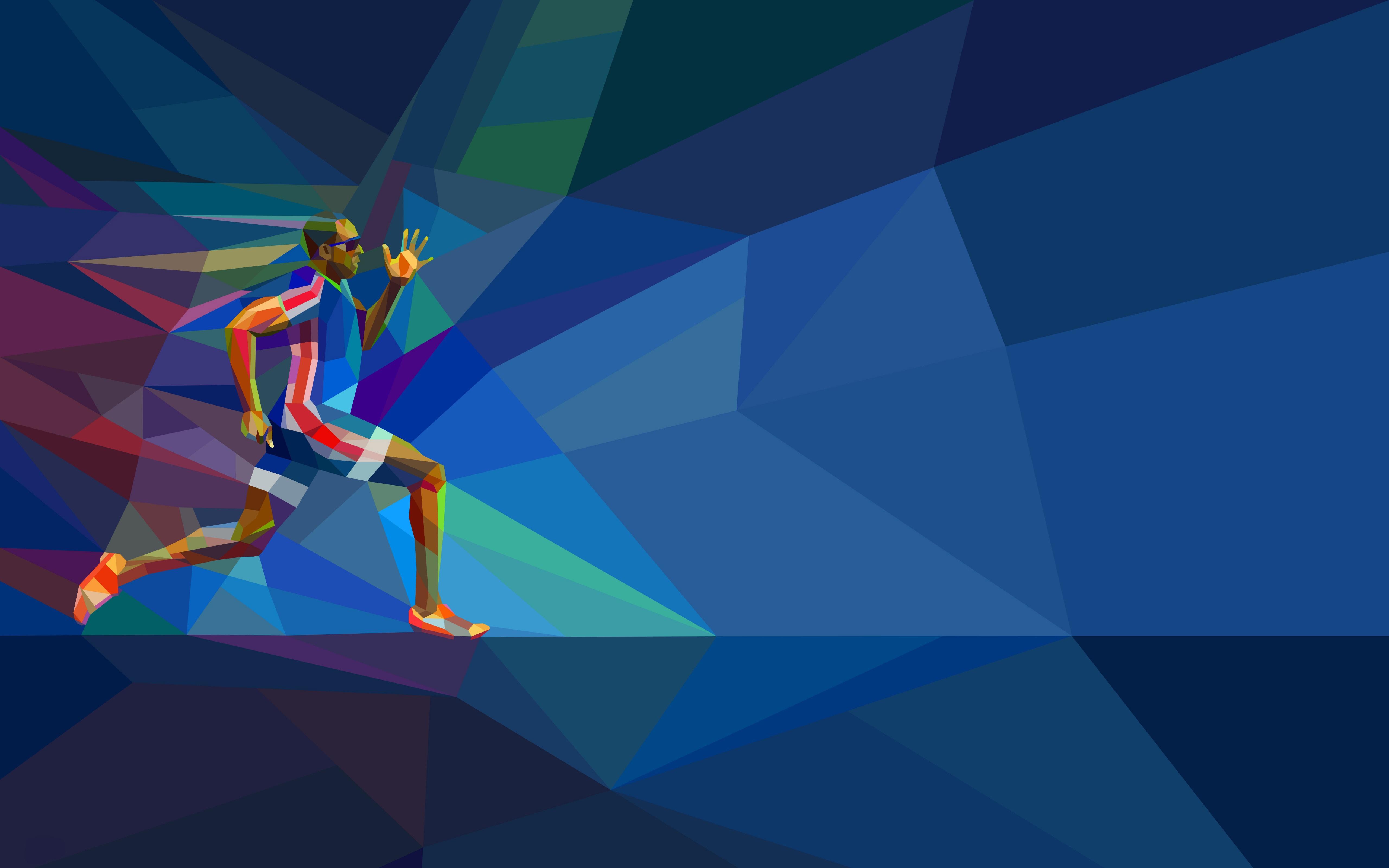 Athlete, Low Poly, Mosaic Art, HD, 4K, Sports