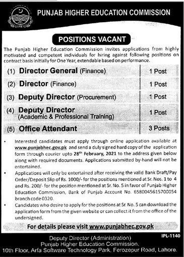 Punjab Higher Education Commission Jobs 2021 - Punjab HEC Jobs 2021