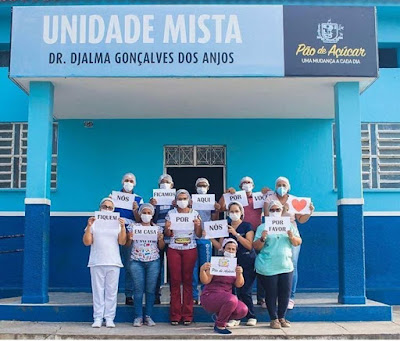 Em Pão de Açúcar/AL, equipe de enfermagem do Hospital faz campanha de incentivo para população ficar em casa como medida de prevenção ao  Coronavírus