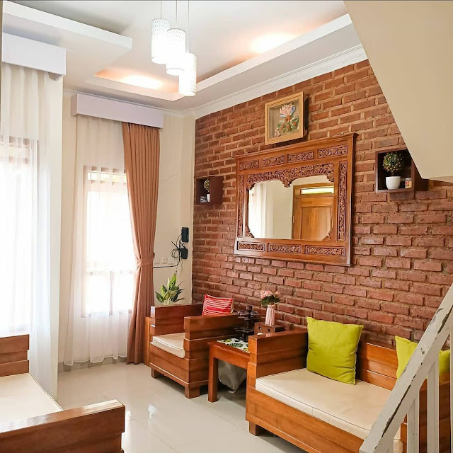 Wallpaper Dinding Ruang Tamu Motif Batu Bata