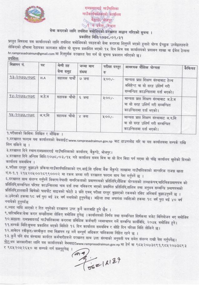 Ramprasadrai Rural Municipality Job Vacancy for HA, AHW and ANM