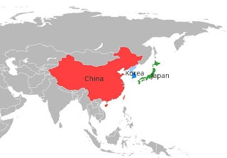 Historic countries of China, Korea and Japan
