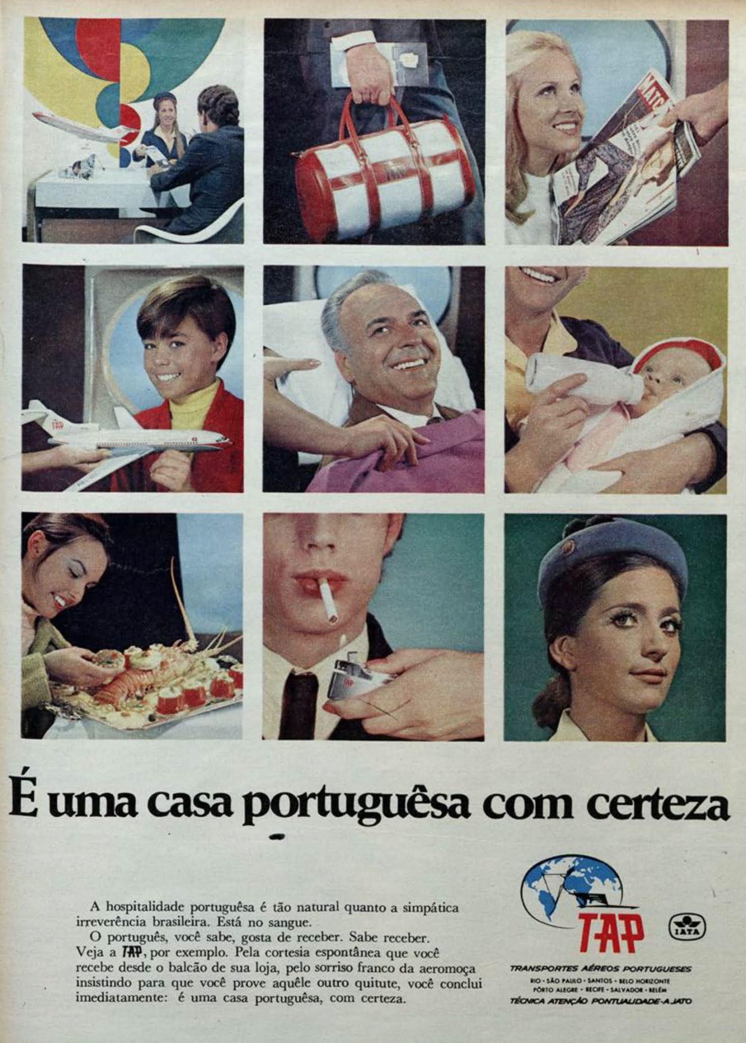 Anúncio de 1969 da companhia aérea portuguesa TAP