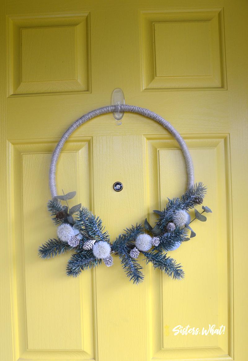 Yarn Pinecone branch Christmas Wreath