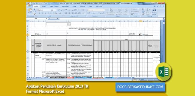 Aplikasi Penilaian Kurikulum 2013 TK (Taman Kanak-Kanak) Format Microsoft Excel