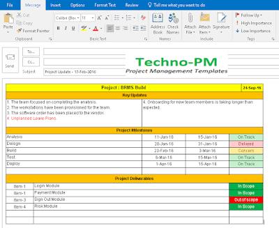 Email Status Update, email status report template