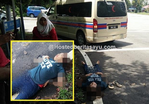 Darah keluar dari telinga .. Remaja perempuan parah terjatuh dari motosikal rakan lalu di tinggalkan (6 Gambar)