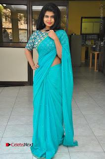 Telugu Actress Alekhya Stills in Green Saree at Swachh Hyderabad Cricket Press Meet  0095.JPG