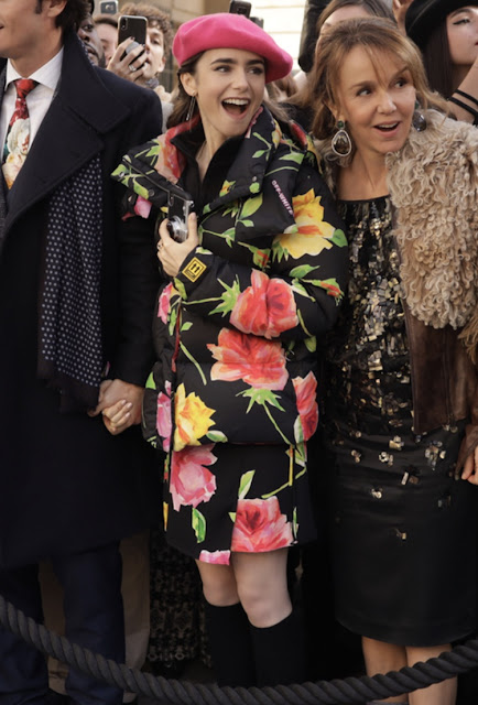 Emily in Paris floral jacket and beret