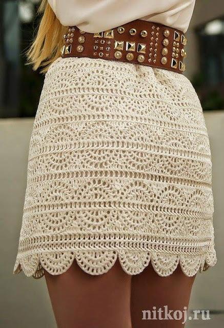 Falda Beige a Crochet