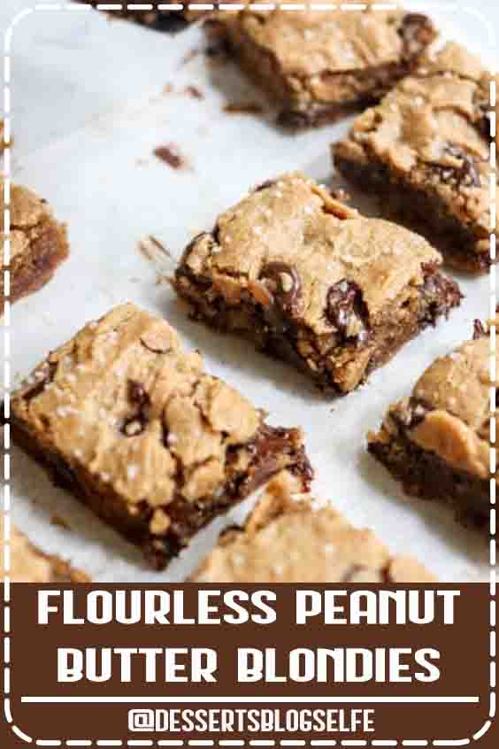 These are the BEST Peanut Butter Blondies! I love that you only need 5 ingredients to make them. (Or 6 if you add in the dark chocolate chips-- which I recommend!) This flourless dessert is sweetened with honey, but you can use maple syrup or coconut sugar, plus a flax or chia egg to make them vegan friendly. My kids love this healthy dessert! #peanutbutter #healthy #dessert #easy #DessertsBlogSelfe #HealthyDesserts  #videos