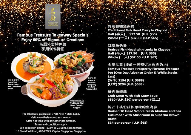 Famous Treasure Takeaway menu