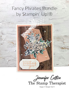 This something for you card uses Stampin' Up!'s Fancy Phrases bundle.  Instructions are in the video!  Click for link.  The designer paper is In Good Taste, the punch is Timeless Label, I colored with Stampin' Blends, the folder is Tasteful Textile, and the ribbon is the Whisper White Tulle Ribbon.  #StampinUp #StampTherapist