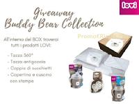Buddy Bear Collection : vinci gratis Box con Tazza 360°, Tazza antigoccia, coppia di succhietti, copertina e cuscino