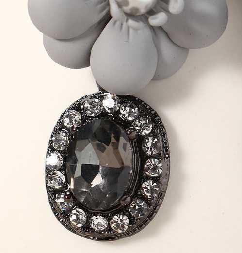 Women Pearl Earrings Necklace Elegant Flower Crystal Jewelry